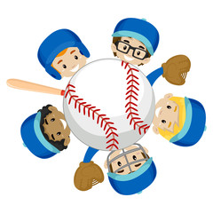 Vector Illustration of Baseball Team Boys around the Ball