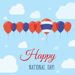Thailand National Day Flat Patriotic Poster. Row of Balloons in Colors of the Thai flag. Happy National Day Card with Flags, Balloons, Clouds and Sky.
