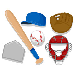 Vector Illustration of Baseball Elements