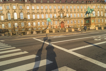 Christiansborg Palace illuminated in early morning, Copenhagen,
