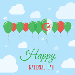 Algeria National Day Flat Patriotic Poster. Row of Balloons in Colors of the Algerian flag. Happy National Day Card with Flags, Balloons, Clouds and Sky.