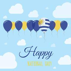 Uruguay National Day Flat Patriotic Poster. Row of Balloons in Colors of the Uruguayan flag. Happy National Day Card with Flags, Balloons, Clouds and Sky.