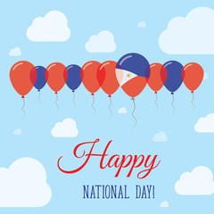 Philippines National Day Flat Patriotic Poster. Row of Balloons in Colors of the Filipino flag. Happy National Day Card with Flags, Balloons, Clouds and Sky.