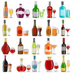 Cocktail and Beverage drink glass with bottle set