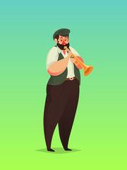 Trumpet player, Vector illustration.