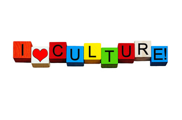 Wall Mural - I Love Culture - sign for the arts, music, civilisation - design - isolated on white.