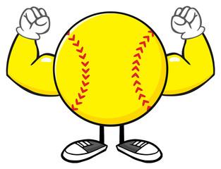 Softball Faceless Cartoon Mascot Character Flexing