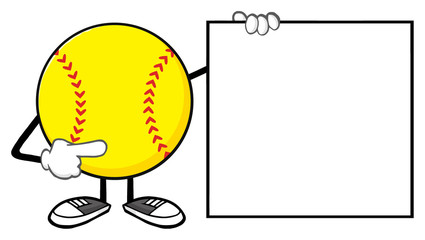 Softball Faceless Cartoon Mascot Character Pointing To A Blank Sign
