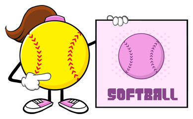 Softball Girl Faceless Cartoon Mascot Character Pointing To A Sign With Text Softball