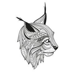 Vector Illustration of an Ornamental Ethnic Lynx Head. Zendala Design for Relexation.
