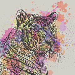 Vector Illustration of an Ornamental Ethnic Tiger Head