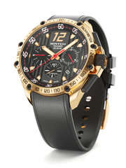 Golden luxury wristwatch with black clock face and rubber wristl