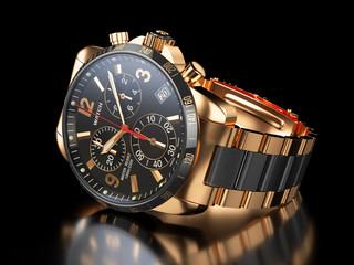 Men`s golden wristwatch on black background. 3d illustration