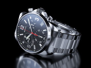 Men`s chrome wristwatch on black background. 3d illustration