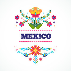 Mexico flowers ornament. Vector illustration.