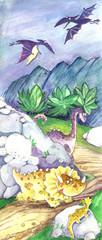 dinosaur, pterodactyl, watercolor