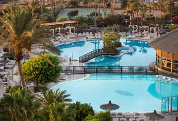 Swimming Pool in Caleta de Fuste on Fuerteventura . Canary Island. Spain