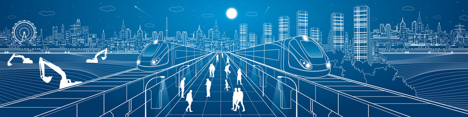Mega infrastructure panorama city, train on the railway station, people walking on street, industrial and transportation illustration, night town, airplane flying, building scene, vector design art
