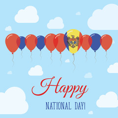 Moldova, Republic of National Day Flat Patriotic Poster. Row of Balloons in Colors of the Moldovan flag. Happy National Day Card with Flags, Balloons, Clouds and Sky.