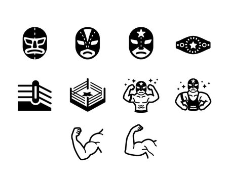 Wrestler Fighter Vector Icon Set