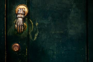 Vintage Door Handle with Dark Dusty Scratchy Texture/ black wall