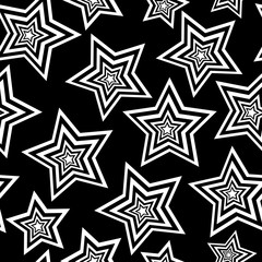 Beautiful abstract vector seamless pattern with stars. Black and white abstraction, endless texture