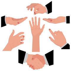 set of hands for different concepts, graphic design, vector illustration