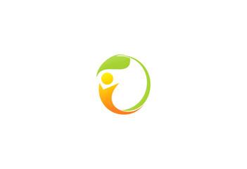happy people vegetarian green leaf logo