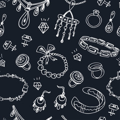 Seamless pattern with accessories sketch icon set. Vintage