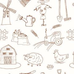 Seamless pattern with Organic farm hand drawn decorative icons set