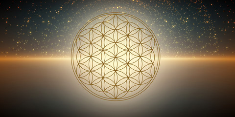 Blume des Lebens - kosmisches Licht - Banner / Hintergrund