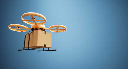 Photo Orange Color Material Generic Design Remote Control Air Drone Flying Craft Box Under Empty Surface.Blank Blue Background.Global Cargo Express Delivery.Wide,Left Side Angle View 3D rendering