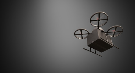 Carbon Material Generic Design Remote Control Air Drone Flying Black Box Under Empty Surface.Blank Gray Background.Global Cargo Express Delivery.Wide,Motion Blur effect.Bottom Angle View 3D rendering