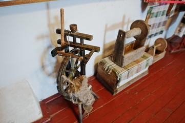 Homespun weaving hand loom for carpets in castle Palanok, Transcarpathia. Ukraine, Europe