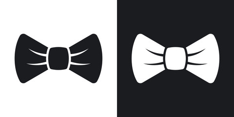 Vector bow tie icon.  Two-tone version on black and white background