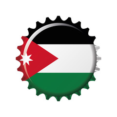 National flag of Jordan on a bottle cap. Vector Illustration