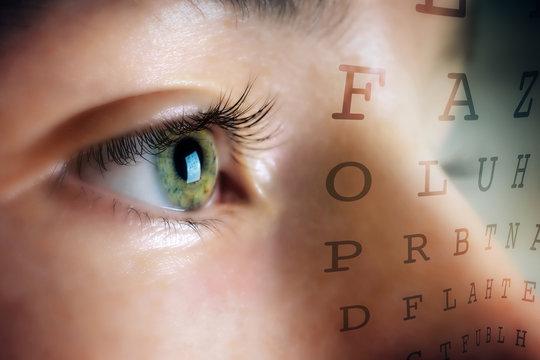 Eye of woman on background Snellen table