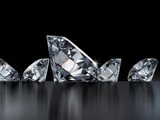 Group of diamonds isolated on black background, 3D illustration.