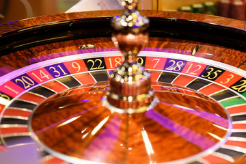 Close up of roulette at the gambling house, selective focus