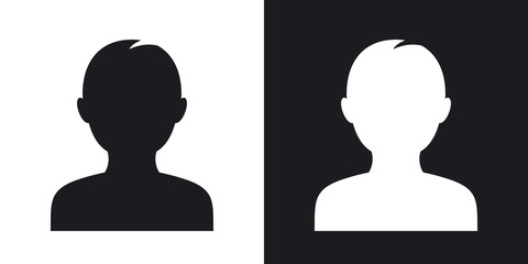 Male user icon, vector.  Two-tone version on black and white background