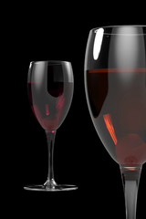 Two Wineglass isolated on black background