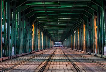 Papiers peints Affiche vintage Gdansk tram bridge in Warsaw, Poland
