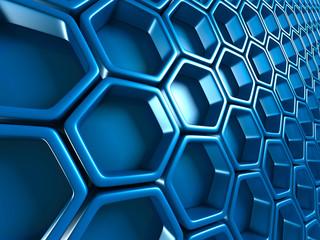 Futuristic Blue Hexagon Pattern Glossy Background
