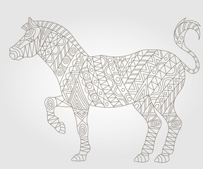 Contour illustration with abstract Zebra, dark outline on a light background