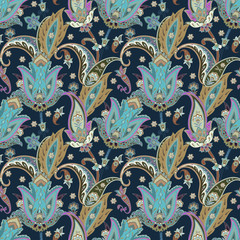 Fantasy flowers seamless paisley pattern. Floral ornament, for wrapping, wallpaper, fabric