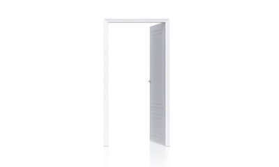 Open white door