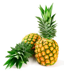 fresh ripe pineapple on white
