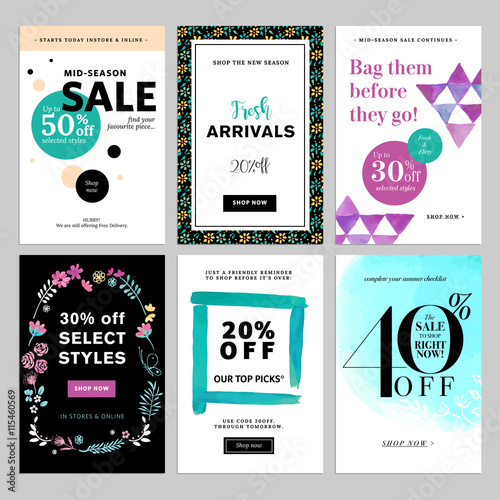 Social Media Banner Templates Bundle Vector Illustrations For Website And Mobile Banners Posters