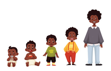 Set of black boys from newborn to infant toddler schoolboy and teenager cartoon vector illustration isolated on white background. African child development from birth to school age