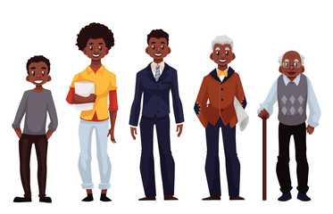 Set of black men of different ages from adolescence youth to maturity and old age, vector illustration isolated on white background. Various generations at African American man